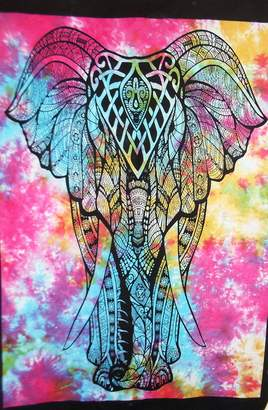 Jaipur Traditional Tie Dye Elephant Poster, Indian Wall Decor, Hippie Tapestries, Bohemian Wall Hanging, Gypsy Dorm Room Decorations, Boho Wall Art, Size, Good Luck Poster or Wall Sticker