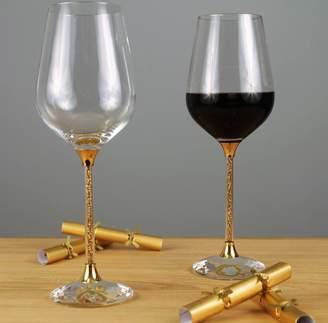 Swarovski Diamond Affair Pair Of Wine Glasses With Gold Crystals