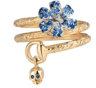 Gucci Flora ring with sapphires
