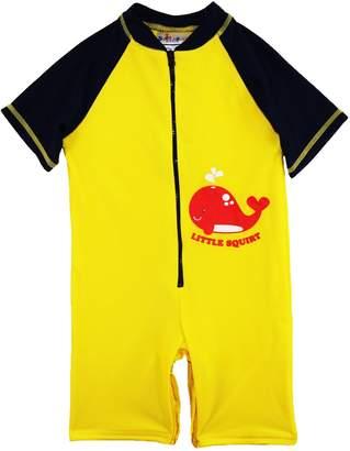 Sweet & Soft Little Boys' Whale Squirt Animal Print 1-Piece Swim Rashguard, Yellow