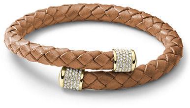 Michael Kors Gold-Tone & Leather By-Pass Wrap Bracelet