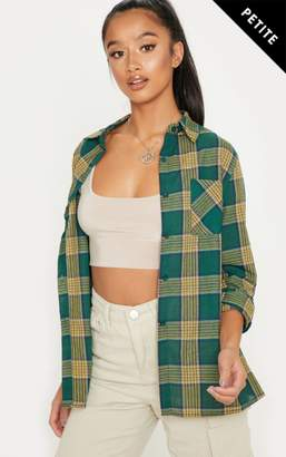 PrettyLittleThing Petite Red Oversized Tartan Shirt