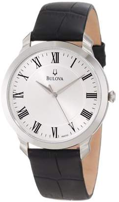 Bulova Mens Dress Analog Stainless Watch - Black Leather Strap - Silver Dial - 96A133