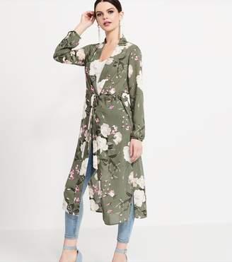 Dynamite Belted Maxi Kimono Dark Green/ Floral Print