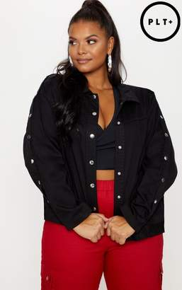 PrettyLittleThing Plus Black Popper Detail Denim Jacket