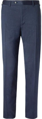 Canali Storm-blue Slim-fit Mélange Stretch-wool Twill Trousers