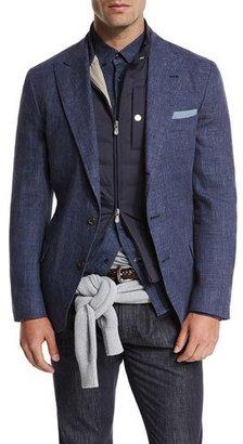 Brunello Cucinelli Deconstructed Peak-Lapel Three-Button Sport Jacket, Bright Blue $2,225 thestylecure.com