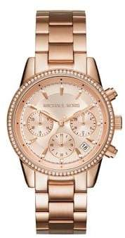 Michael Kors Ritz Studded Rose Goldtone Stainless Steel Chronograph Bracelet Watch