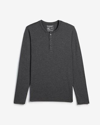 Express Slim Supersoft Long Sleeve Henley T-Shirt