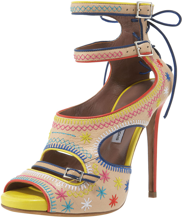 Tabitha Simmons Embroidered Ankle-Strap Platform Sandal