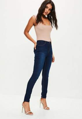 Missguided Dark Blue High Waisted Skinny Jeggings, Deep Blue