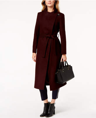 Kenneth Cole Petite Asymmetrical Belted Maxi Coat