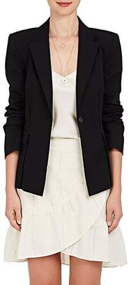 Derek Lam 10 Crosby WOMEN'S GROMMET-LACED STRETCH-COTTON SINGLE-BUTTON BLAZER - BLACK SIZE 2
