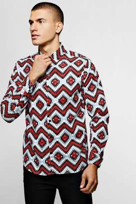boohoo Navajo Print Brushed Long Sleeve Shirt
