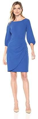Donna Morgan Women's Crepe Sheath Dress with Draped Skirt
