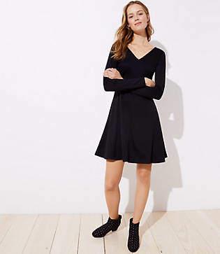 LOFT Petite Doubleface Flare Dress