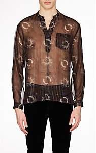 Saint Laurent Men's Paisley Silk Georgette Shirt - Navy