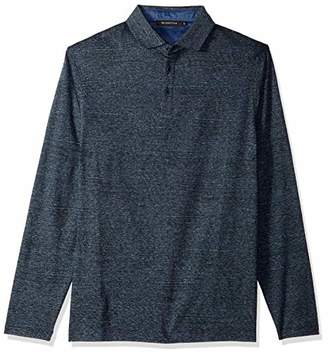 Bugatchi Men's Long Sleeve Classic Fit Three Button Collar Knit Shirt
