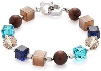 Jewels By Leonardo Leonardo Jewels women bracelet Siena Darlin's stainless steel/silver colored glass brown beige blue turquoise 20,5 cm Darlin's Clip groß ball cube geometric 016384