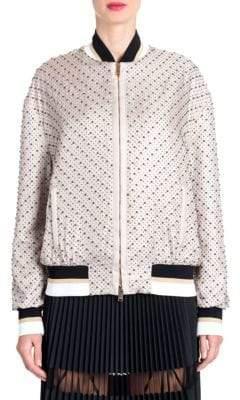 Versace Studded Silk Bomber Jacket