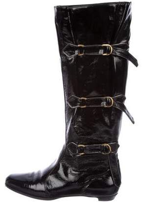 Jimmy Choo Buckled Patent Leather Knee-High Boots