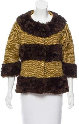 Tibi Faux Fur-Paneled Tweed Coat