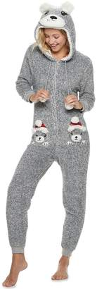 Peace Love & Fashion Juniors' Peace, Love & Fashion Hooded Holiday Bear One-Piece Pajamas