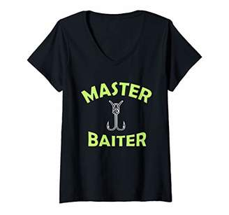 Womens Master Baiter | Funny Fisherman V-Neck T-Shirt