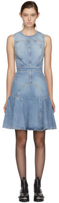 Alexander McQueen Blue Panelled Denim Dress