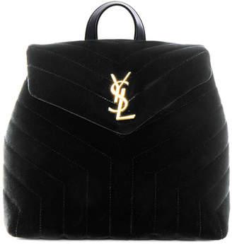 Saint Laurent Small Velvet Monogramme Loulou Backpack