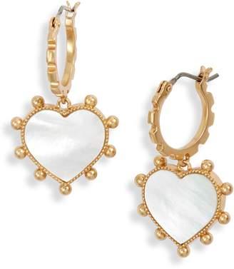 Tory Burch Semiprecious Stone Inlay Heart Earrings
