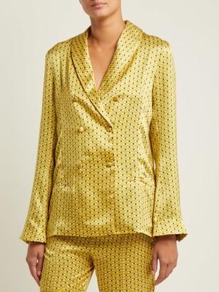 Asceno - Geometric Print Sandwashed Silk Pyjama Jacket - Womens - Yellow Print