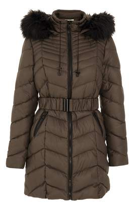 Quiz Khaki Faux Fur Hooded Jacket