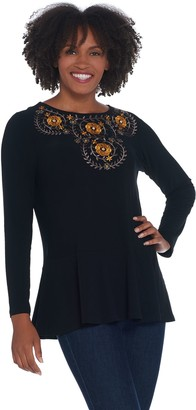 Dennis Basso Caviar Crepe Peplum Tunic with Embroidery