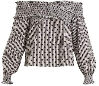 Anna October - Off The Shoulder Polka Dot Cotton Top - Womens - Grey Multi