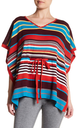 Cullen V-Neck Striped Silk Blend Poncho $150 thestylecure.com