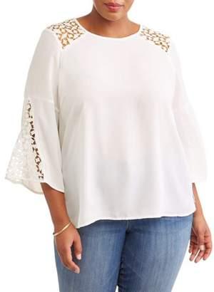 Lifestyle Attitudes Women's Plus Size Shoulder Detailing Flutter Sleeve Crepe Blouse