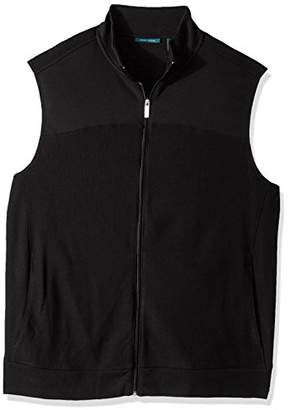 Perry Ellis Men's Cotton Blend Full Zip Texture Knit Vest