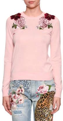 Dolce & Gabbana Crewneck Long-Sleeve Cashmere Sweater w/ Rose Applique