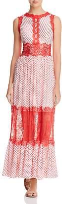 Aqua Lace Appliqué Polka Dot Maxi Dress - 100% Exclusive
