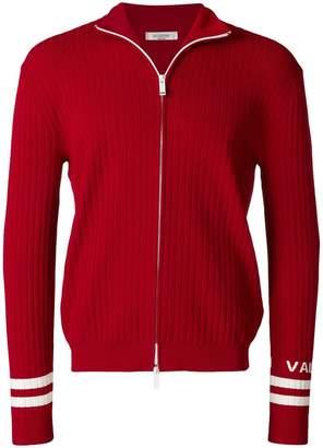 Valentino striped trim zipped sweatshirt