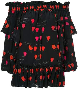 Alexander McQueen off-shoulder petal print top