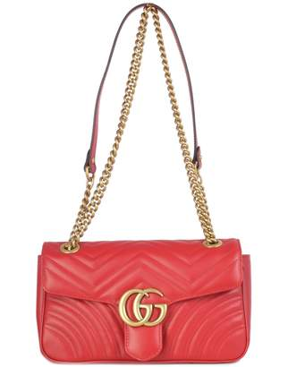 Gucci Gg Marmont S Whit Flap, Brass Logo Gg On The Flap Chain And Strap Brass