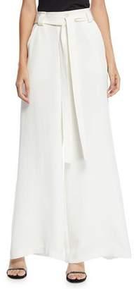 Etro Draped Tie-Waist Wide-Leg Silk Pants