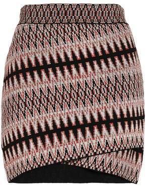 Maje Jenia Wrap-Effect Jacquard-Knit Mini Skirt