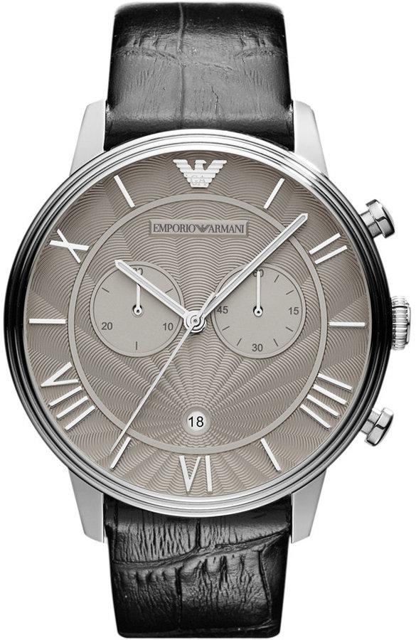 Emporio Armani Watch, Men's Chronograph Black Croco Leather Strap 46mm AR1615