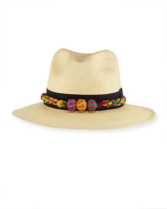 Valdez Panama Straw Pompom Fedora Hat, Tan