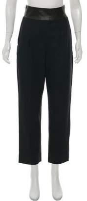 Diane von Furstenberg Ellis High-Rise Leather Trim Pants
