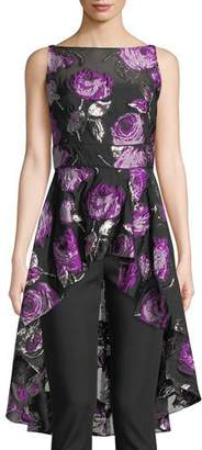Lela Rose Metallic Rose Fil Coupe High-Low Peplum Top
