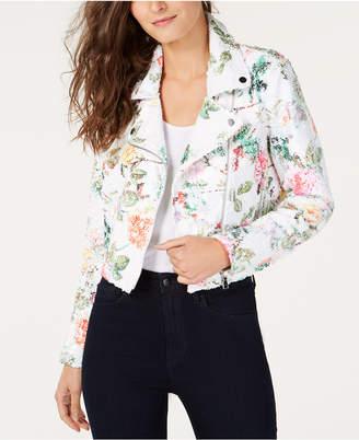 INC International Concepts I.n.c. Floral-Print Sequin Moto Jacket